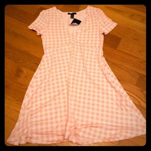 Pink and White Plaid Dress